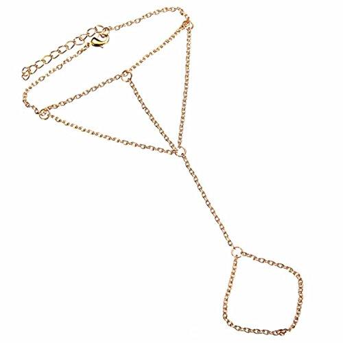 Ctzrzyt Joyeria de Mano Pulsera de Collar de la Boda Pulsera Entrelazado con Anillo de Dedo Pulsera de Oro para Mujer Senoras