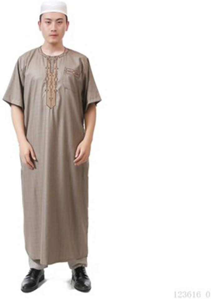 DEWUFAFA Worship Clothes, Round Neck Short-Sleeved Men's Robe, Arab Men's Robe, Oman Robe (Color : Light Khaki, Size : 58#)