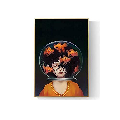 Wandkunst Bild Romantische Leinwanddrucke Cartoon Mädchen und Mädchen Fisch Schlafzimmer Wohnzimmer Rahmenlos 70x100cm