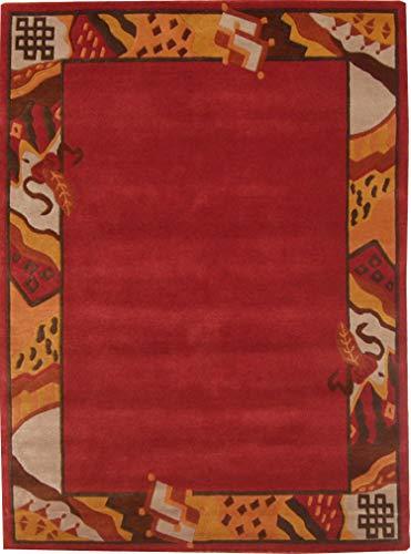Teppich aus 100% Schurwolle (IWS); handgeknüpft | Größe: 162 x 236 cm; Farbe: Rot | THEKO die markenteppiche - GURKHA