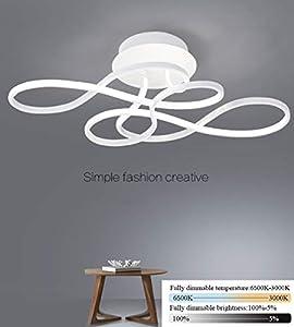 Lámpara de techo LED juvenil regulable con mando a distancia, 3000-6500 K, metal, moderna, creativa lámpara de araña para salón, dormitorio, baño, pasillo, oficina, lámpara de techo