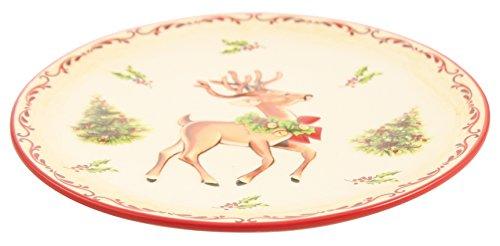 Villa d'Este Home Tivoli sweetxmas Assiette de Noël Rond avec décorations Rennes de Noël, Dolomite, Blanc/Rouge, 20.5 x 20.5 x 2.5 cm
