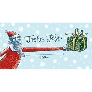 10er Pack Corona Weihnachtskarte Weihnachtsmann mit Maske Geschenk und Abstand