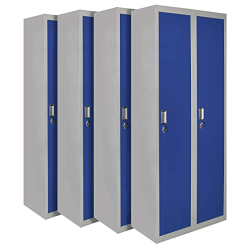 Montafox 4er Set Spind Garderobenschrank Doppelspind Metallschrank Umkleideschrank 180 x 60 x 50 cm ; Grau-Dunkelblau