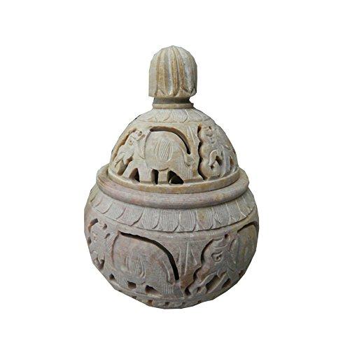 Teelichtlampe 13 cm Elefanten bauchförmig Speckstein 2-teilig Windlicht Dekoration