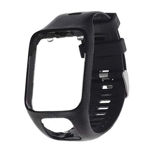 Pulseira de silicone de reposição para relógio inteligente Pulseira flexível para relógio compatível para TomTom Runner 2/3 Spark/Spark 3 Golfer 2 (preto)