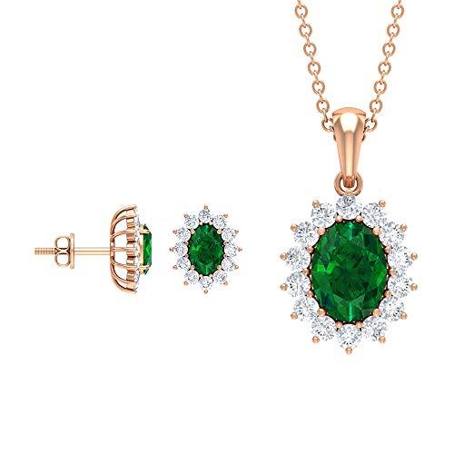 Colgante y pendientes de esmeralda de 3,33 quilates, con halo de diamantes, juego de joyas con piedra natal de mayo, pendientes de oro verde (calidad AAA) verde