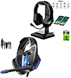 GLEENFIT RGB Gaming Headset PS4&PS5 Headset, Xbox One Headset with Noise Canceling Mic&Led Light, GLEENFIT RGB Headphones Stand,Gaming Headset Holder with Type-C and USB Chargers Ports
