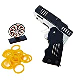 Rubber Band Gun Toy, Mini Metal Folding Rubber Band Shooter with Keychain 100 Elastic Rubber Bands and 1 Target (Black)