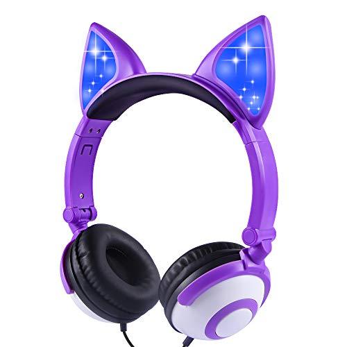 Auriculares Plegables para niños con Orejas de Gato con Luces LED, Auriculares sobre la Oreja con micrófono y Control de Volumen para iPhone/iPad/portátil/PC/TV (Rosa)