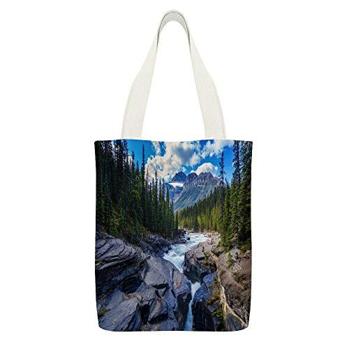 Bolsa de lona de río, rocas, árboles, coníferas, piedras arroyo, arroyo, color blanco, 8 reutilizables, bolsas de tela para la compra, respetuosas con el medio ambiente, bolsa de hombro súper fuerte