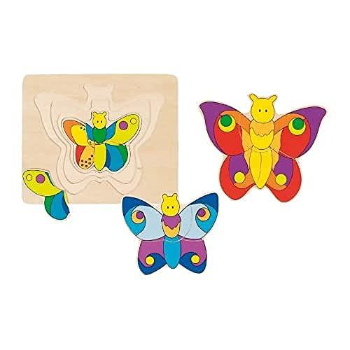 Goki - 2041606 - Puzzle en Bois - Couches - Papillon - 11 Pièces