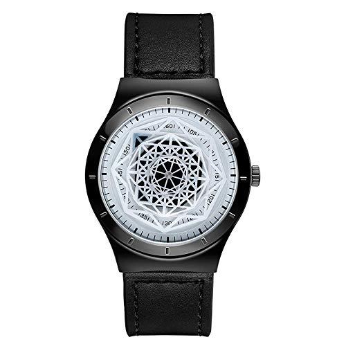 Armbanduhr,Polygonale Geometrische Plattenspieler Zeiger Einfache Klassische Lederarmband Mesh Armband Herren Quarzuhr, Schwarz Und Weiß