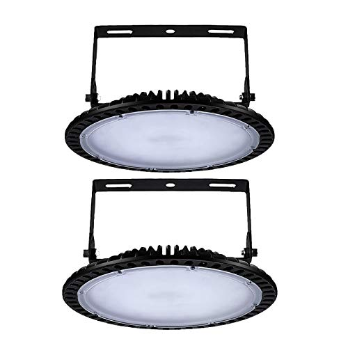 UFO Iluminación LED Alta, Lámpara Industrial Ultra Delgada Lámpara industrial LED fría de 6000-6500K LED Shinning-Star, para talleres, fábricas [Clase de eficiencia energética A+++] (2 Pack, 100W)