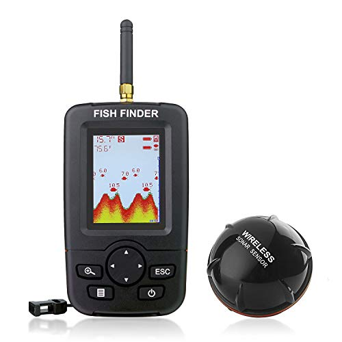 Venterior Portable Fish Finder Wireless Sonar Sensor Fishfinder Depth Locator with Fish Size, Water Temperature, Bottom Contour, Color LCD Display