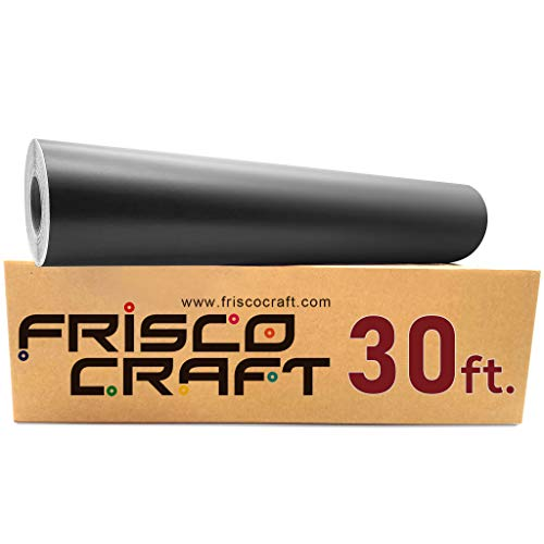 """Frisco Craft Matte Black Permanent Vinyl - 12"""" x 30 FT Black Vinyl Roll, Adhesive Vinyl Sheets Compatible with Cricut, Silhouette and Cameo"""
