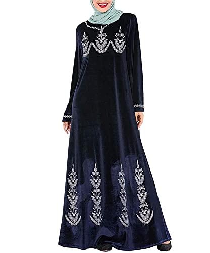 .Islamic Clothing Velvet Muslim Dress Women Abaya Kaftan Kimono Long Robe Jubah Elbise Dubai Turkey Arabic Moroccan Hijab Dresses (Color: Blue, Size: Large)