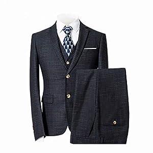 FTIMILD スーツメンズ セットアップスーツ ビジネス スーツ スリーピース チェック 柄 二つボタン 結婚式 パーティー フォーマル オールシーズン対応