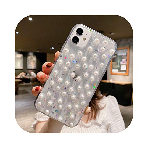 Henraly - Carcasa para iPhone 11, diseño de lentejuelas 3D para iPhone X 11 Pro XS Max XR 7 se 2020 8 6 Plus transparente TPU flexible brillante