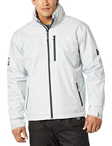 Helly-Hansen Men s Standard Crew Hooded Midlayer Fleece Lined Waterproof Raincoat Jacket, 853 Grey Fog, Large