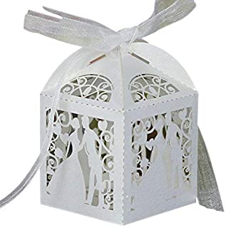 PONATIA 50 Pieces/Lot Laser Cut with Ribbon Wedding Party Favor, Wedding Gift Bags Chocolate Candy and Gift Boxes