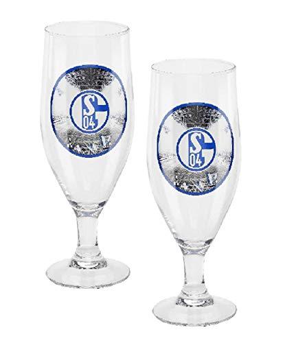 FC Schalke 04 Pilstulpe - Nordkurve Logo - 2er Set Pilsglas, Bierglas, Glas S04 (L)