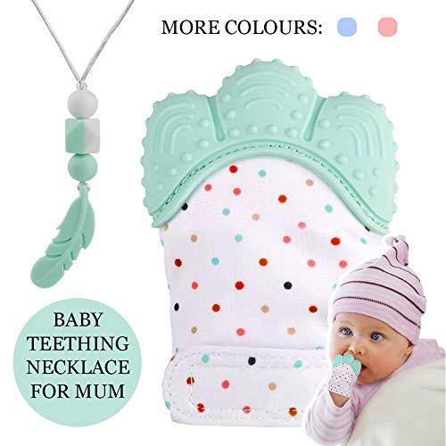Guante mordedor bebé,bebe dentición Manoplas,Collar Lactancia,collar Hermosa Moda,Silicona flexible, SIN BPA. aliviar...