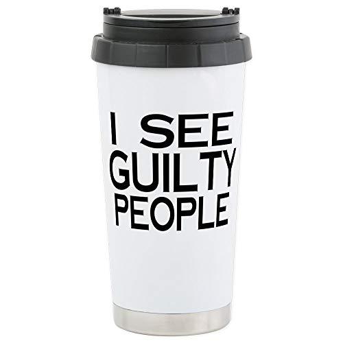 CafePress–iSee Guilty Menschen–Thermobecher Edelstahl, isoliert 16Oz Coffee Tumbler