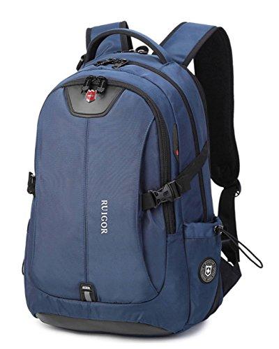 RUIGOR ICON 47 Robuuste trekkingrugzak, waterafstotende outdoorrugzak, 30 l, laptoptas, 15,6 inch, blauw, heren, werkrugzak RG6147