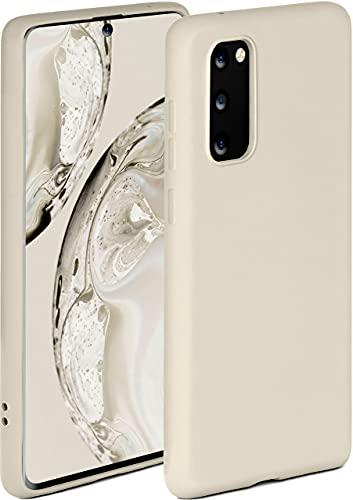 ONEFLOW Soft Hülle kompatibel mit Samsung Galaxy S20 / S20 5G Hülle aus Silikon, erhöhte Kante für Displayschutz, zweilagig, weiche Handyhülle - matt Creme