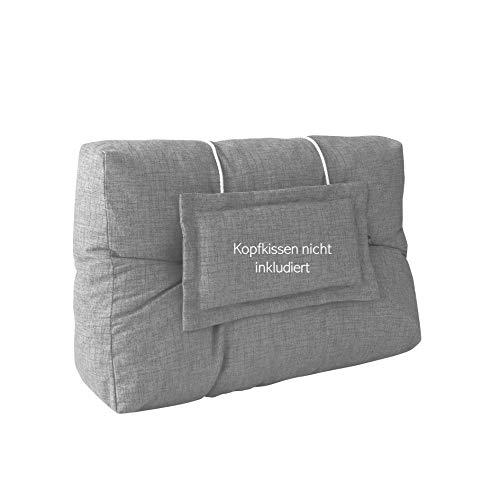 LILENO HOME Palettenkissen Set Hellgrau - Rücken- / Seitenkissen 60x40x10/20 cm - Polster für Europaletten - Palettenkissen Outdoor als Sitzkissen für Palettenmöbel