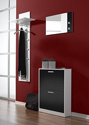 """3-tlg. Garderoben-Set """"Torino"""" Farbe: Weiß / Schwarz"""