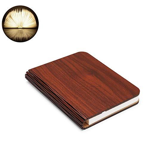 HUANZHCHP boek LED-lamp gemaakt van hout, inklapbaar, decoratief, tafellamp, Big Size, 2000 mAh, 300 lumen licht, bruin