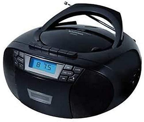 Sunstech CXUM53. Radio CD/Cassette portátil estéreo de 2 W, CD/R/RW/MP3/WMA FM USB/AUX-IN. Color Negro.