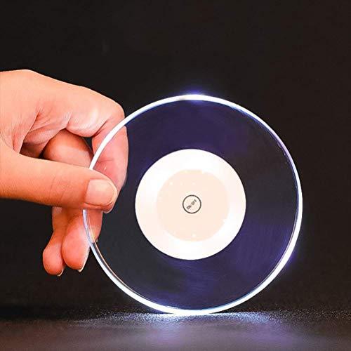 Shenruifa - Posavasos con luz LED para beber vidrio luminoso, transparente