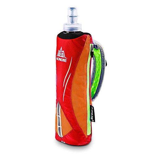 AONIJIER Bolsa de almacenamiento plegable de 500 ml para botella de agua suave para correr, bolsa de almacenamiento de muñeca, paquete de hidratación para carreras de maratón, al aire libre (rojo)