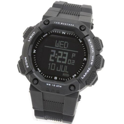 [LAD WEATHER]ラドウェザー GPS腕時計 アウトドア/ランニング/フィットネス 心拍計測 デジタルコンパス 消費カロリー計算 スポーツ時計 (ブラック(反転液晶))