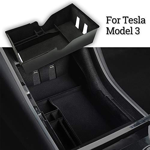 Tesla Model 3 Center Console Organizer Tray Interieur Accessoires Gevlokte armleuning Verborgen opbergdoos voor Cubby-laden met munt- en zonnebrilhouder (vlokken, versie 2020)