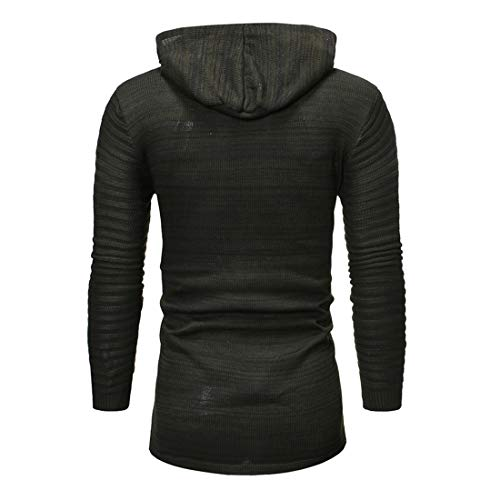 Z&Y Glaa Men Jacquard Sweater Men Sports and Fitness Cardigan Hooded Jacket Winter Fleece Jacket Thick Warm Coat Multi Pocket Military Jacket with Removable Hood Men's Hooded Jacket