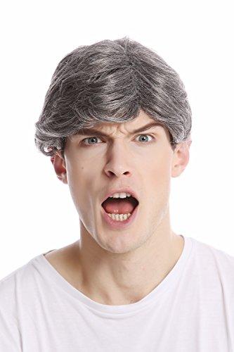 WIG ME UP- GFW355A-44 Peluca hombre moderna pelo corto raya medio color gris-oscuro con negro