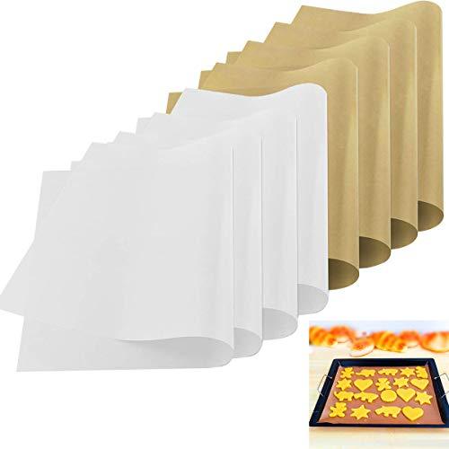 Osuter 8PCS Tappetino da Forno Riutilizzabile Carta da Forno Antiaderente Barbecue Grill Mat Impermeabile per Vassoio di Cottura Griglia Forno