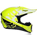 Super-ZS Casco Integrale Moto Cross, Occhiali + Guanti + Maschera Facciale Giallo Modello Fox Fodera Removibile E Lavabile Set Casco Bici Cross Giovanile Set Certificazione DOT