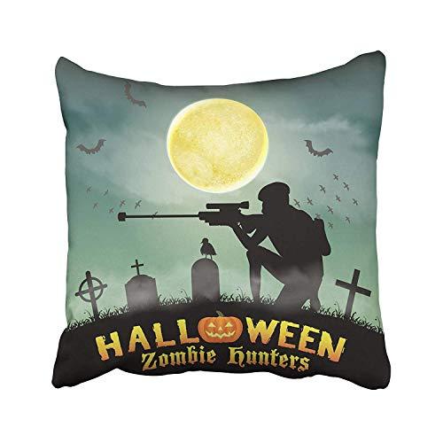 Cementerio Halloween Zombie Hunter con francotirador en el cementerio Accin Ejrcito Ataque Batalla Comunicacin Disfraz Fundas de almohada Fundas de almohada personalizadas para sof Casa Habitacin