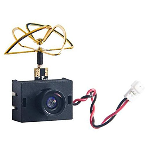 AKK A3S 5.8G 40CH VTX 0/25mW/50mW/200mW Switchable 600TVL 1/3 Cmos Micro AIO FPV Camera with Clover Antenna for FPV Drone Like Tiny Whoop Blade Inductrix (with Shell)