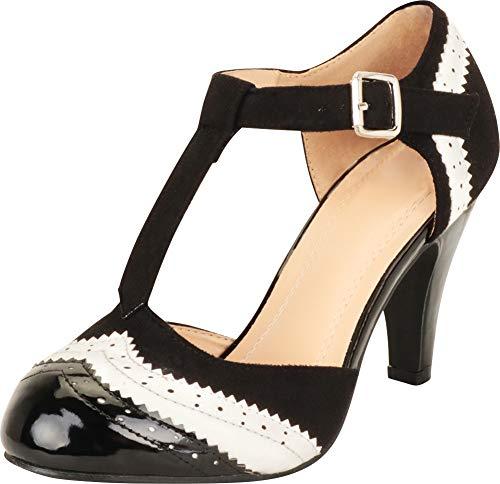 Cambridge Select Damen T-Riemen Wingtip Style Cut Out Mid Heel Dress Pump, Schwarz (schwarz / weiß), 38 EU