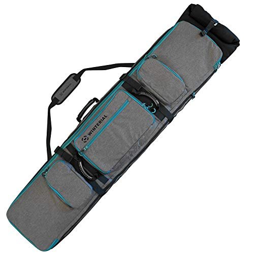 Winterial Rolling Expandable Snowboard and Ski Bag - Snowboard and Ski Bag with Wheels, Fits up to 2 Boards or 2 Sets of Skis, Expandable Main Compartment, Double Layered Water Resistant Interior