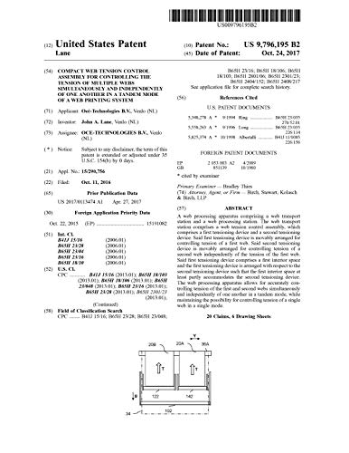 Compact web tension control assembly for controlling the tension of multiple webs simultaneously and independently of one another in a tandem mode of a ... States Patent 979619 (English Edition)