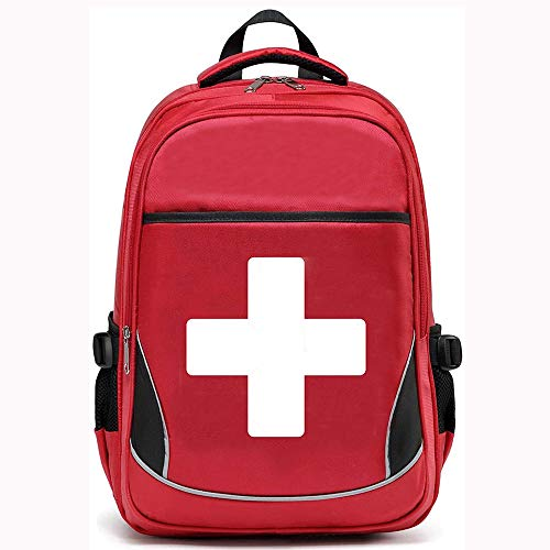 Camoredy First Aid Bag Empty Red Emergency Medical Backpack First Responder Trauma Bag Waterproof Multi-Pocket for Traveling, Field Trips, Camping, Hiking, Scout Troop, Childcare (White)