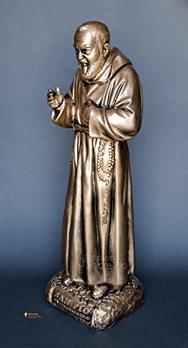 Statua Padre Pio cm60 in resina, effetto bronzato