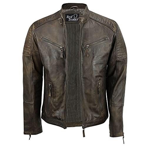 Veste moto pour homme, coupe ajustée, en cuir véritable, brun, style rétro décontracté - Marron - marron, X-Large